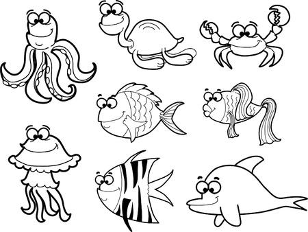 Marine fishes, vector illustration  Иллюстрация