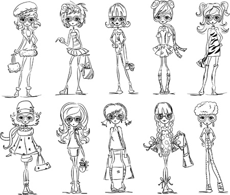 high fashion: Cartoon fashionable girls  Illustration