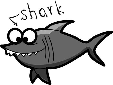 plunging: cartoon shark  Illustration