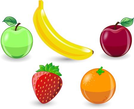 manzana caricatura: Dibujos animados de color naranja, plátano, manzana, fresa