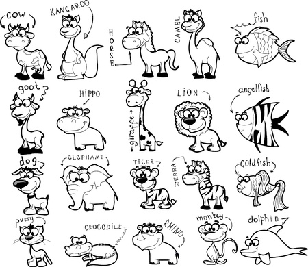 Big set of cartoon black-white animals  Vector