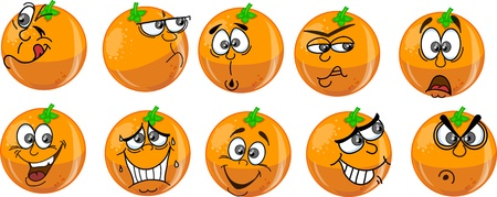 orange slice: Cartoon oranges with emotions Illustration