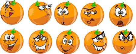 naranja caricatura: Naranjas de dibujos animados con las emociones Vectores