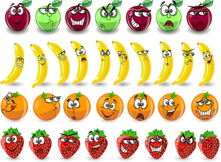 apples and oranges: Cartoon oranges, bananas, apples