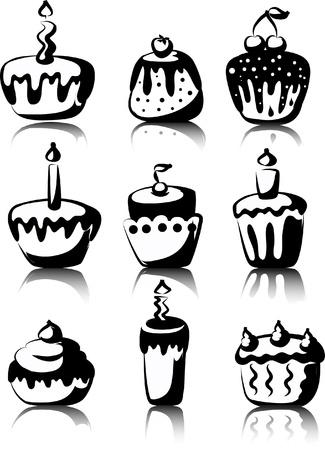 wedding cake illustration: Set of 9 cupcakes Illustration