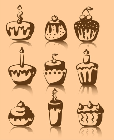Set of 9 cupcakes  Vector