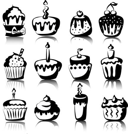 Set of 12 vector cupcakes  Ilustracja