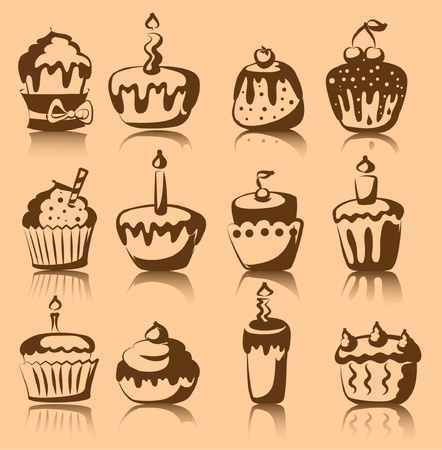 Set of 12 vector cupcakes  Vector