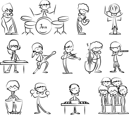 dj boy: set of Music vector icons