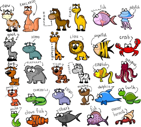 cow illustration: Big set of cartoon animals and fishes