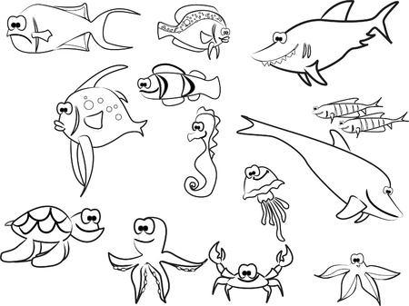 book publisher: extra large set of marine fish including sharks Illustration