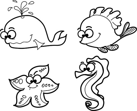 small group of objects: cartoon fishes Illustration