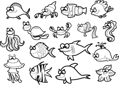 hippo campus: Big set of cartoon fishes Illustration