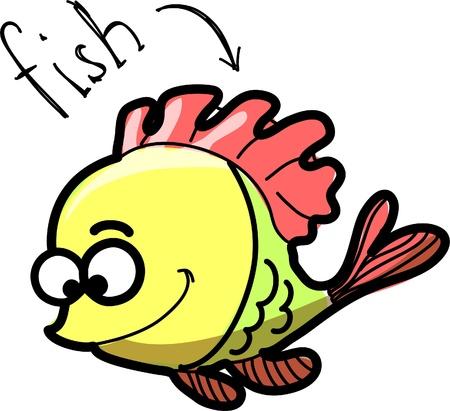 plunging: cartoon fish