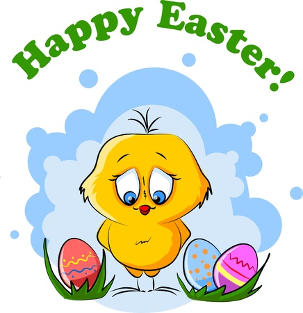 Easter chicken, background  Vector