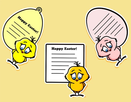 Easter stickers with the chicken and rabbit Vector