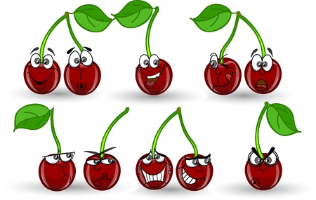 Set cartoon cherries with different emotions