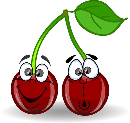 funny fruit: Cartoon cherries with different emotions Illustration