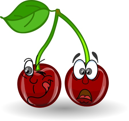 drawings image: Cartoon cherries with different emotions Illustration