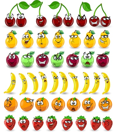 Cartoon oranges, bananas, apples, strawberries Vector