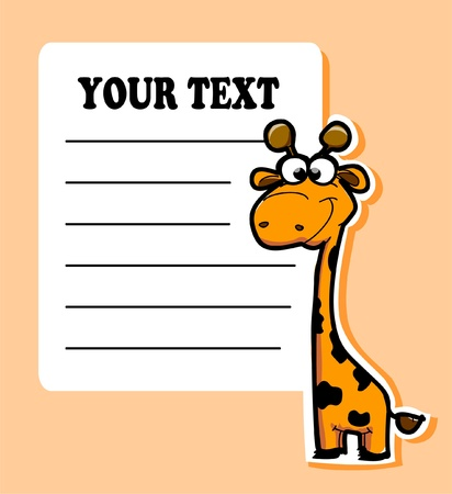 Cartoon sticker with cute giraffe, vector  Vector