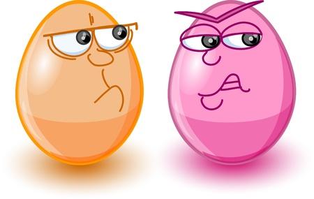 Cartoon easter eggs, happy easter  Vector