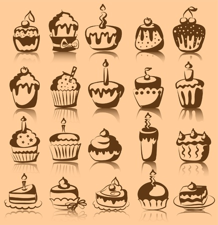Set of vector cupcakes  Vector