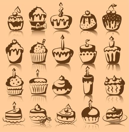 Set of vector cupcakes  Vector