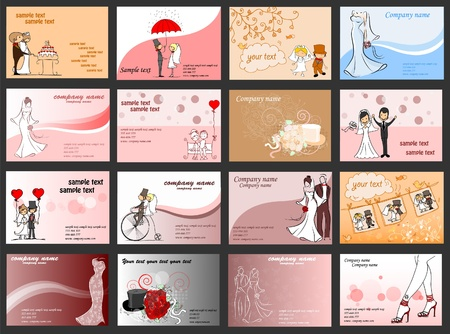 wedding card design: Set with business cards