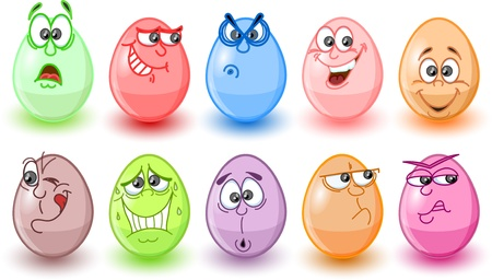 Cartoon easter eggs, happy easter Stock Vector - 12183356