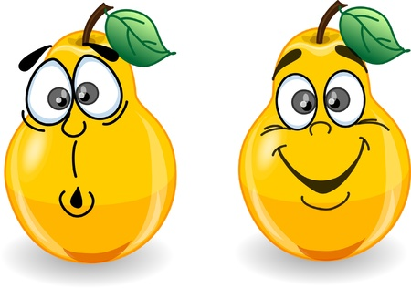 orange water: Cartoon pears with emotions