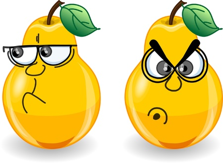 summer diet: Cartoon pears with emotions