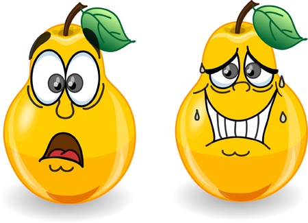 Cartoon pears with emotions  Vector