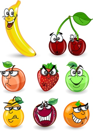 fruit cartoon: Cartoon orange, banana, apples, strawberry
