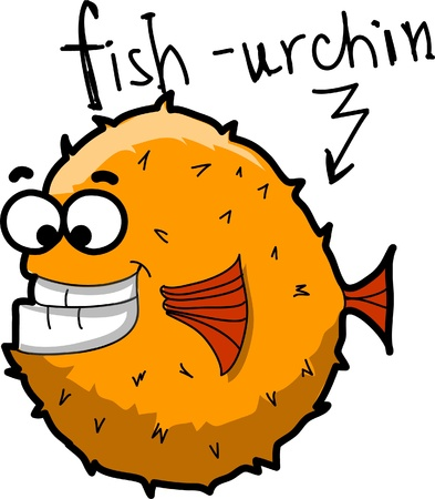 Cartoon fish-urchin, vecto Vector