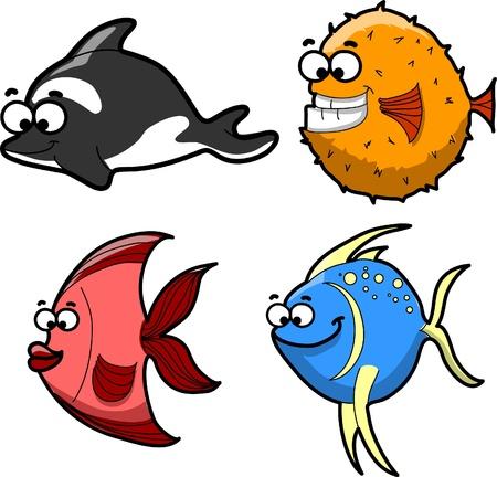 sea urchin: Big set of cartoon fishes