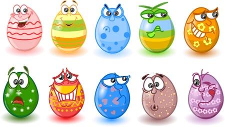 easter eggs: Cartoon easter eggs, happy easter