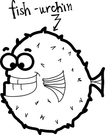 shell fish: Cartoon fish-urchin, vector  Illustration