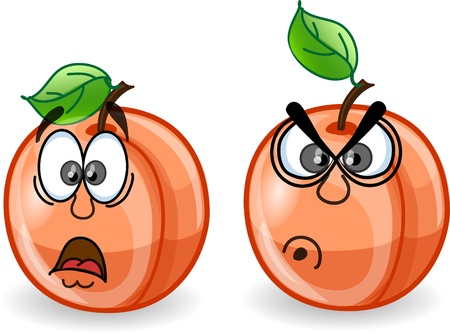 Cartoon peaches with emotions  Vector