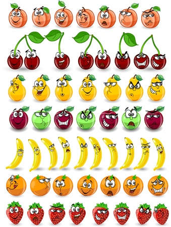 strawberry cartoon: Cartoon orange, banana, apples, strawberry