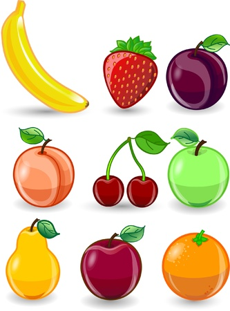 Cartoon orange, banana, apples, strawberry Stock Vector - 12183376