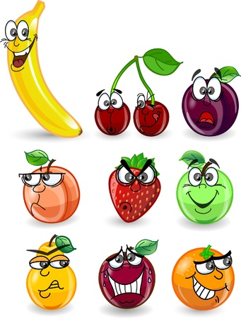 Cartoon orange, banana, apples, strawberry Stock Vector - 12183374