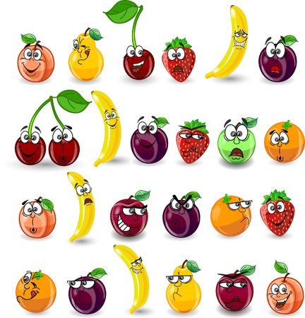 Cartoon orange, banana, apples, strawberry Vector
