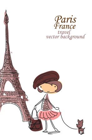 cartoon m�dchen: Fashion-Karikatur-M�dchen reist durch die Welt Illustration