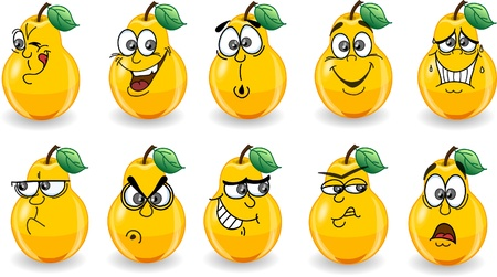 Cartoon pears with emotions  Иллюстрация