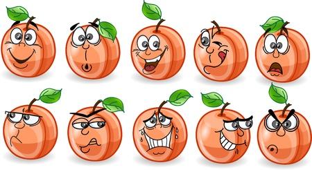caras de emociones: Los melocotones de dibujos animados con las emociones