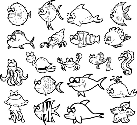 whale underwater: Big set of cartoon marine animals