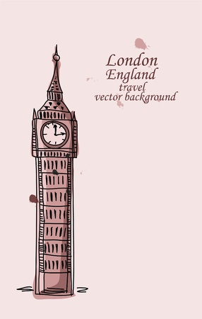 sightseeings: Travel to London, Big Ben, vector background  Illustration