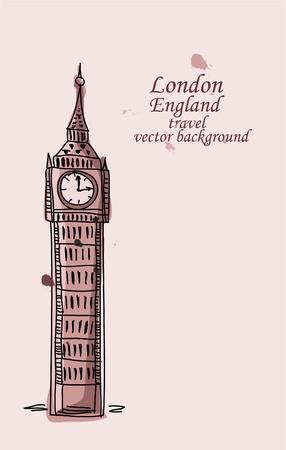 sightseeing: Travel to London, Big Ben, vector background  Illustration