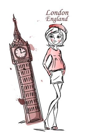 Fashion Cartoon Girl travels the world Vector
